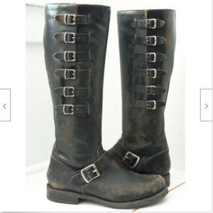 Frye Veronica Belted Tall Engineer Moto Blk Boots